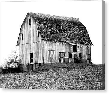 Barn On The Hill Bw Canvas Print by Julie Hamilton