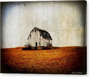 Barn On The Hill Canvas Print by Julie Hamilton
