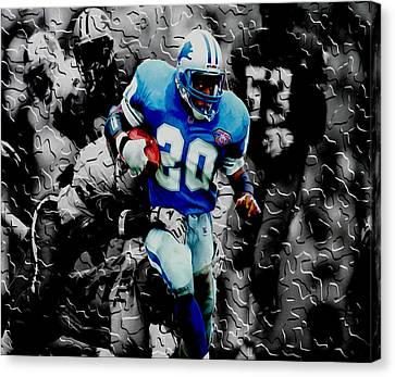 Barry Sanders Canvas Print - Barry Sanders Breaking Out by Brian Reaves