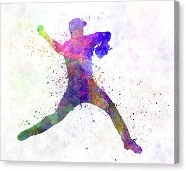 Baseball Canvas Print - Baseball Player Throwing A Ball by Pablo Romero