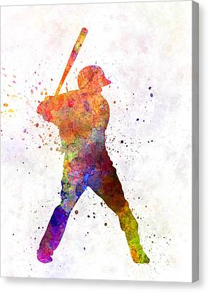 Baseball Player Waiting For A Ball Canvas Print by Pablo Romero