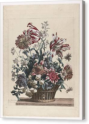 1690 Canvas Print - Basket With Flowers by Celestial Images