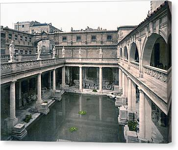 Bath - Somerset - England - Roman Baths And Abbey Canvas Print by International  Images