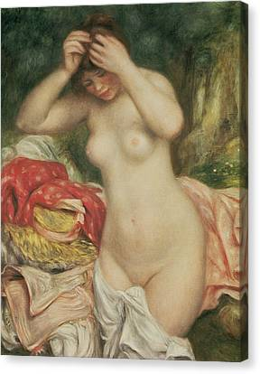 Woman Combing Her Hair Canvas Print - Bather Arranging Her Hair by Pierre Auguste Renoir