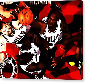 Battle In The Paint Canvas Print