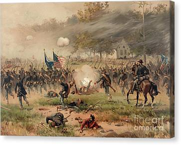 Battle Of Antietam Canvas Print by Thure de Thulstrup