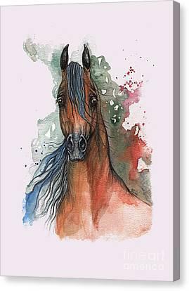 Bay Arabian Horse 2014 01 09 Canvas Print by Angel Tarantella