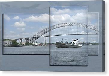Bayonne Bridge And Boat Canvas Print by Richard Xuereb