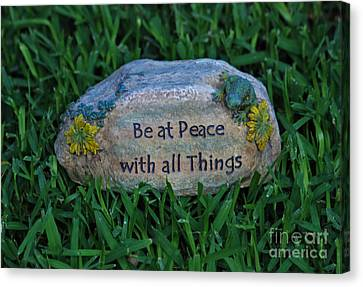 Canvas Print featuring the photograph 1- Be At Peace by Joseph Keane