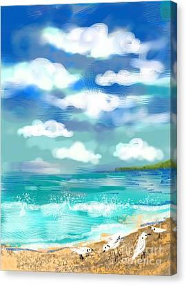 Canvas Print featuring the digital art Beach Birds by Elaine Lanoue