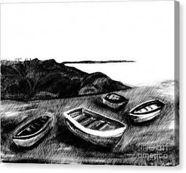Sombre Canvas Print - Beach Front Scene II by Jennifer Van Niekerk