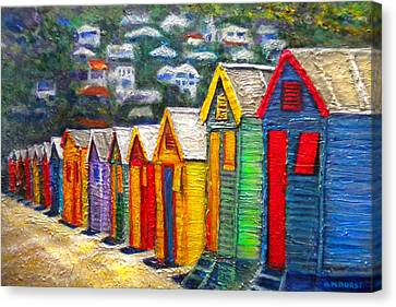 Beach Houses At Fish Hoek Canvas Print by Michael Durst