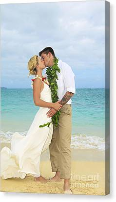 Sweet Touch Canvas Print - Beach Newlyweds by Tomas del Amo - Printscapes