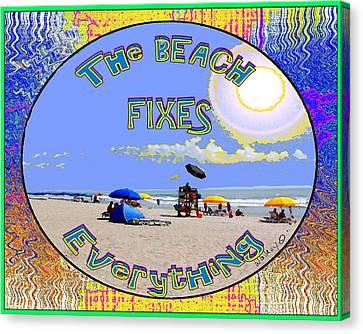 Beach Sign Canvas Print by W Gilroy