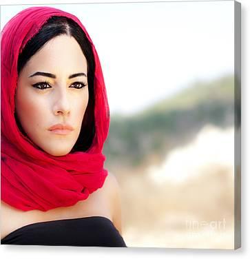 Beautiful Arabic Woman Canvas Print by Anna Om
