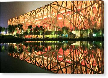 Beijing National Stadium Canvas Print by Lanjee Chee
