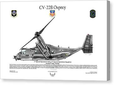 Bell Boeing, Cv-22b, Osprey Canvas Print by Arthur Eggers