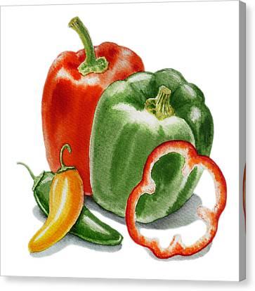 Bell Peppers Jalapeno Canvas Print by Irina Sztukowski
