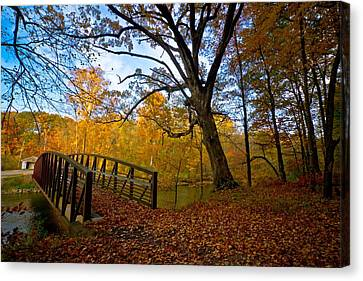 Fall Scenes Canvas Print - Below The Dam by Linda Unger
