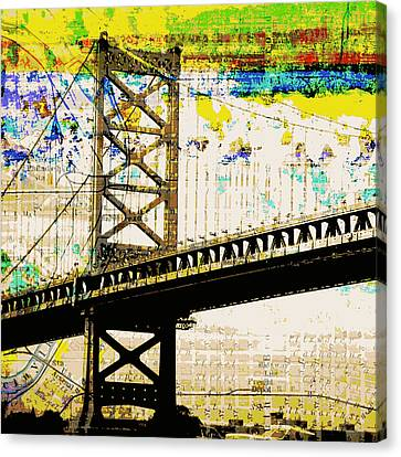 Ben Franklin Bridge Philadelphia Canvas Print by Brandi Fitzgerald