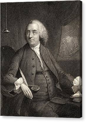 Benjamin Franklin, 1706-1790. American Canvas Print by Vintage Design Pics