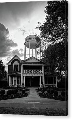 Canvas Print featuring the photograph Bentonville Arkansas Water Tower - Black And White by Gregory Ballos