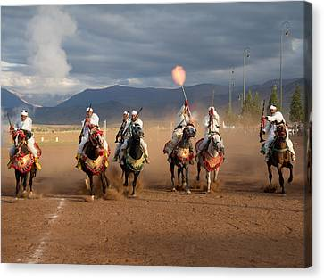 Berber Horseman Firing Rifles Canvas Print by Panoramic Images