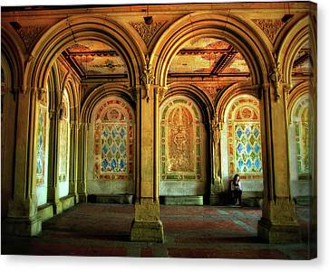 Canvas Print featuring the photograph Bethesda Terrace Arcade by Jessica Jenney