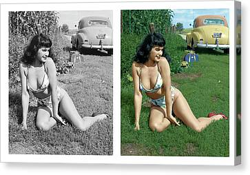 Bettie Page In The Corn Field Canvas Print by Franchi Torres