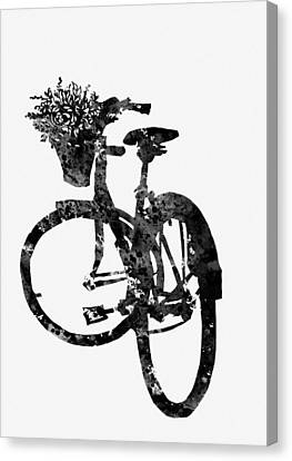 Bicycle With Flowers Canvas Print - Bicycle-black by Erzebet S