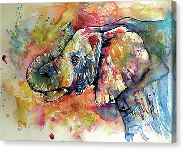 Big Colorful Elephant Canvas Print