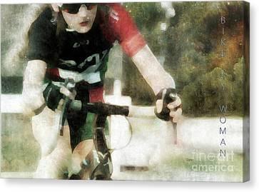 Bike By Woman Canvas Print by Steven Digman