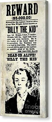 Billy The Kid Wanted Poster Canvas Print by Jon Neidert