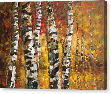 Birch Trees In Golden Fall Canvas Print by Ylli Haruni