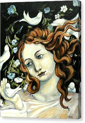 Bird Lady Canvas Print by Carrie Joy Byrnes