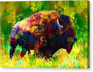 Beast Canvas Print - Bison by Elena Kosvincheva