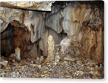 Canvas Print featuring the photograph Bizarre Mineral Formations In Stalactite Cavern by Michal Boubin