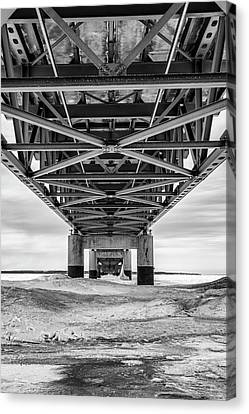 Canvas Print featuring the photograph Black And White Mackinac Bridge Winter by John McGraw