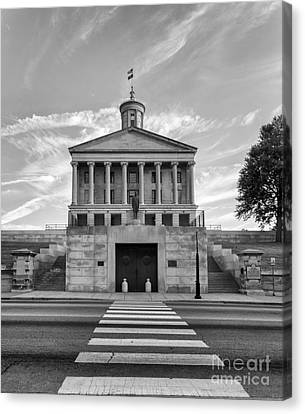 Capital Building In Nashville Tennessee Canvas Print - Black And White Photography Print Of The State Capital Building Of Nashville Tennessee At Sunrise  by Jeremy Holmes
