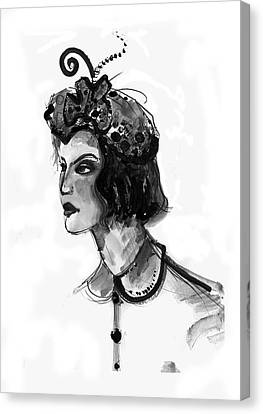 Black And White Watercolor Fashion Illustration Canvas Print