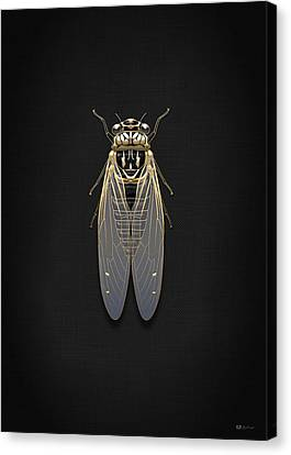 Black Cicada With Gold Accents On Black Canvas Canvas Print by Serge Averbukh