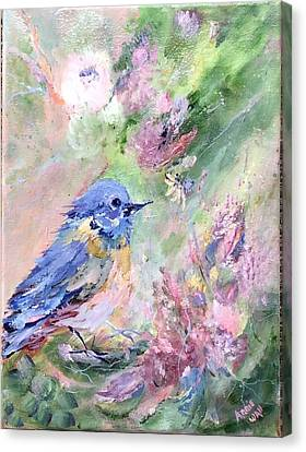 Blue Bird Bouquet Canvas Print by Ann Wall