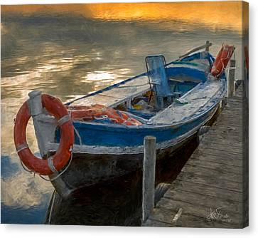 Canvas Print featuring the photograph Blue Boat by Juan Carlos Ferro Duque