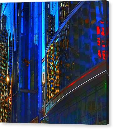 Canvas Print featuring the photograph Blue Cityscape by Marianne Dow