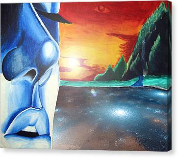 Canvas Print featuring the painting Blue Face by Michael McKenzie