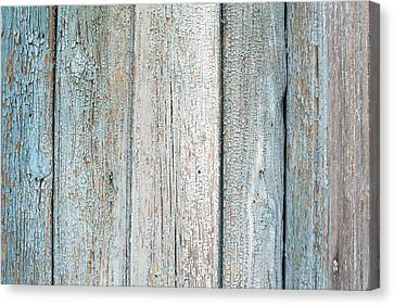 Canvas Print featuring the photograph Blue Fading Paint On Wood by John Williams