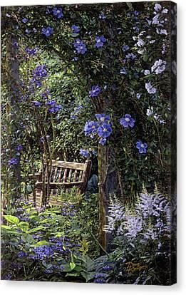 Blue Garden Respite Canvas Print by Doug Kreuger