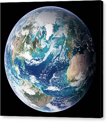 Blue Marble Image Of Earth (2005) Canvas Print by Nasa Earth Observatory