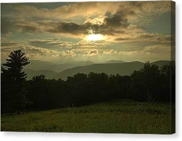 Canvas Print featuring the photograph Blue Ridge Mountain Sunset by Stephen  Vecchiotti
