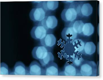 Blue Snowflake Canvas Print by Jouko Mikkola